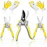 Hortem 5PCS Pruners Set Include Bypass Pruning Shears with Stainless Steel Blades, Straight Tip Garden Hand Secateurs, Pruning Snips with Curved Blade and 2 Pairs Nitrile Gardening Gloves