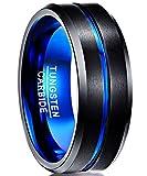 NUNCAD Tungsten Ring Blue Black Matte Finish Beveled Grooved Wedding Band for Men 8mm Size 15.5