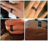 King Will Basic Men Wedding Black Tungsten Ring 8mm Matte Finish Beveled Polished Edge Comfort Fit 6