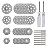 40 Pcs Diamond Cutting Wheel Kit (25mm/22mm/18mm/16mm Each 10), With 8pcs 3mm Mandrel and 2pcs Cross Screwdriver For Rotary Tool Cutting Gem Stones, Glass, Ceramics