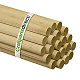 Wooden Dowel Rods - 1' x 36' Unfinished Hardwood Sticks - for Crafts and DIY'ers - Craftparts Direct - Bag of 2