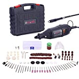 GOXAWEE Rotary Tool Kit with MultiPro Keyless Chuck and Flex Shaft - 140pcs Accessories Variable Speed Electric Drill Set for Crafting Projects and DIY Creations