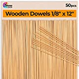 Wooden Dowel Rods Thin 12 inches -1/8' Dowels - (30cm-3mmØ) 50 pcs - Wood Dowels for Crafts - BEST Price - Unfinished Natural Wood Dowels for Wedding Ribbon Wands