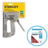 Stanley TR110 Heavy Duty Steel Staple Gun 84 Staple Capacity, Squeeze Trigger and T50#504 Box of Staples
