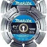 Makita 2 Pack - 4.5' Segmented Rim Diamond Blades For 4.5'+ Grinders & Circular Saws - Long-Lasting Cutting For Concrete, Masonry & Brick - 5/8', 20mm & 7/8' Arbors