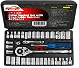 40 Pieces - EPAuto 1/4-Inch & 3/8-Inch Drive Socket Set with 72 Teeth Reversible Ratchet