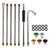 AgiiMan Gutter Cleaning Tool Pressure Washer - Extension Wands, Roof Cleaner Lance Nozzle - 4000 psi 5 Tips, Window Washing Accessories, Power Washer