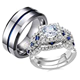 Newshe Wedding Rings Set for Him and Her Women Mens Tungsten Bands Sterling Silver Couple Cz Sz 8/10
