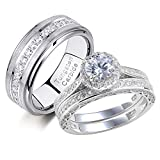 Newshe Wedding Rings Set for Him and Her Women Mens Tungsten Bands Round Cz 3Ct Sterling Silver 10&7